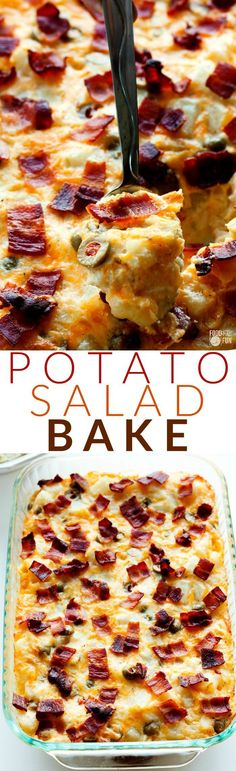 This Potato Salad Bake is your favorite potato salad turned into a warm and cheesy gratin casserole. Basically it's your new favorite side dish!   Easter Recipe   Side Dish   Comfort Food