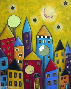 I love these wonky whimsical houses under that skinny sliver of a moon in that gorgeous twilight sky.