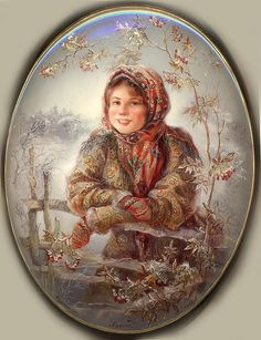 Russian lacquer miniature from the village of Fedoskino. Peasant girl in traditional headscarf