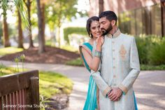 Sweet indian couple outdoor portrait. http://www.maharaniweddings.com/gallery/photo/83870