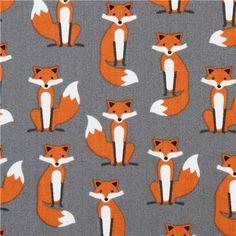 grey fox animal premium laminate fabric 'Fabulous Foxes' by Robert Kaufman  1