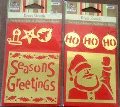 2 Christmas Designs Brass Embossing Stencil Plaid All Night Media NEW