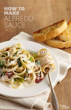 Learn how to make homemade Alfredo sauce—it's easier than you think! http://www.bhg.com/recipes/how-to/cooking-basics/how-to-make-alfredo-sauce/?socsrc=bhgpin012614alfredosauce