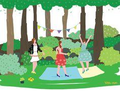 party,hula hoop,illustrator,summer,forest,color