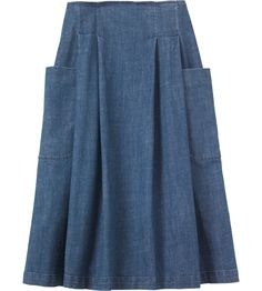 Toast: Full, pleated skirt, resting neatly on the hips, in a weighty, supple, indigo-dyed denim - washed for a lighter shade of indigo. Two large and deep patch pockets.