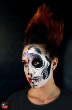 Calavera glamurosa www.eltallerdelpelo.com Halloween Face Makeup, Artistic Make Up, Skulls, Atelier, Hair, Artists