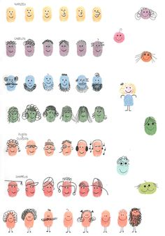 Thumb Faces:  I could have the children do this and have them name their prints after the seniors at the center.