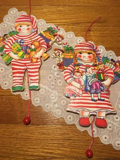 Vintage Wooden Pull String Little Boy Girl Christmas Morning Ornaments Kitsch  | eBay