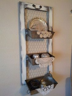 Farmhouse Decor/Storage. Great Way To Repurpose Old Kitchen Stuff. Very Cute, I'd Leave Out The Doileys Though.