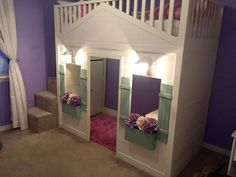Cottage Loft bed playhouse with stairs, lights and desk Do It Yourself Home Projects from Ana White Playhouse Loft Bed, Indoor Playhouse, Loft Beds, Bunk Beds, Hideaway Bed, One Room Apartment, Diy Bed, Little Girl Rooms, Do It Yourself Home