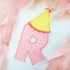 f9782a8c7d4 Birthday Hat with initial Machine Embroidery Applique