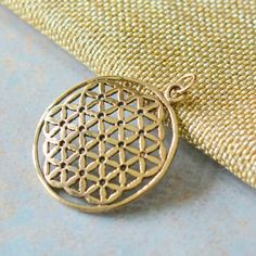 Large Round Bronze Flower of Life Pendant, Sacred Geometry Pendant, 36mm, 5mm Jumpring Bail, Seed of Life, Spiritual Jewelry, Yoga Jewerly by WanderlustWorldArts on Etsy