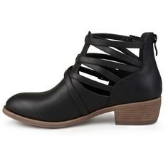 Women's Journee Collection Savvy Strappy Faux Leather Booties - Black 6.5