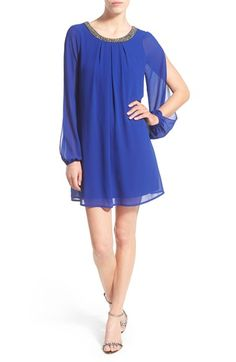 Speechless Split Sleeve Shift Dress with Embellished Neck available at #Nordstrom