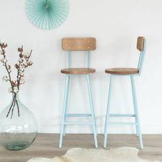 chaise de bar design, bois et métal