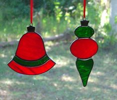 Set of 2 Stained Glass Christmas Ornaments by StainedGlassAndMore, $25.00