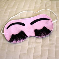pink sleep mask with eyelashes tutorial...so cute!