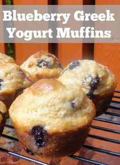 Blueberry muffins made with greek yogurt. Breakfast freezer recipe. 156 calories and 4 weight watchers points plus