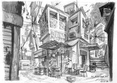 Environment Sketch, Environment Design, Animation Background, Art Background, Concept Artist Portfolio, Zombie Tsunami, Peter Chan, Anime City, Perspective Art
