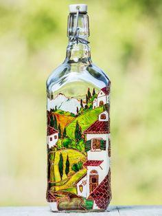 Hand Painted Stained Glass Decor, Mugs and Bottles, by Natalya Bondarenko on Etsy Wine Bottle Art, Glass Bottle Crafts, Bottle Vase, Vodka Bottle, Painted Glass Bottles, Mosaic Bottles, Glass Dispenser, Glass Painting Designs, Olive Oil Bottles