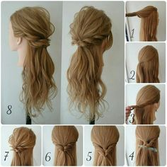 DIY tutorials on how to style your hair in 3 minutes. Quick and easy hairstyles. Techniques to style your hair and look elegant in no time. Weave Hairstyles, Wedding Hairstyles, Cool Hairstyles, Beautiful Hairstyles, Hairstyle Ideas, Twisted Hairstyles, Semi Formal Hairstyles, Elegant Hairstyles, Hairstyles Haircuts