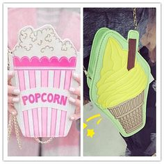 New fashion personality ice cream popcorn embroidered shape chain shoulder bag messenger bag lady handbag clutch purse 10 colors