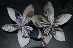 Recycled Nic Nacs - Upcycled Newspaper Flowers