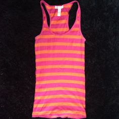 Striped Tank Top Pink and orange striped tank top Ambiance Apparel Tops Tank Tops