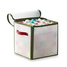 """Essential Home 64 Cube Christmas Ornament Box Red//Green 12x12x12/"""""""