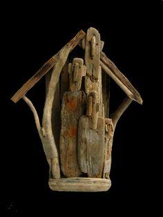 """Marc Bourlier - """"The Bird House"""", Driftwood, linene twine. 36x30x12cm, 2006."""