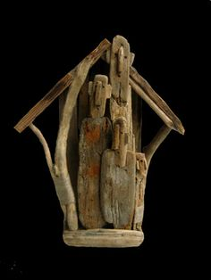 "Marc Bourlier - ""The Bird House"", Driftwood, linene twine. 36x30x12cm, 2006."
