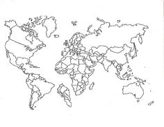 This printable world map with all continents is left blank