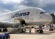 "Frankfurtspotting — Lufthansa's D-AIMJ ""Brussels"" A380-800 at the gate..."