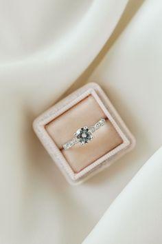 Addison | 6.5mm White Gold | #vintage #simple #engagement Olive Avenue Jewelry, Moissanite Diamonds, Deco Engagement Ring, Diamond Art, Jewelry Companies, Brilliant Diamond, Wedding Sets, Round Diamonds, Wedding Venues