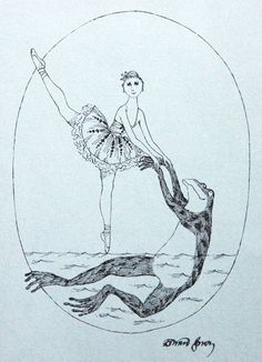 Edward Gorey illustration for book launch of Allegra Kent's Water Beauty Book