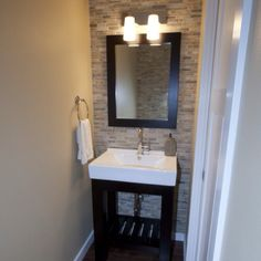 powder room ideas | Powder room ideas | Home sweet home.... Tile wall behind sink.
