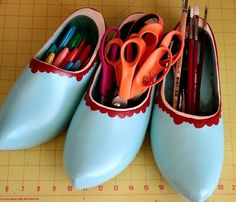 """You know, just in case you have """"any antique clogs laying around"""". I don't but am now on a mission to find some. Dutch Wooden Shoes, Wooden Clogs, Shoe Crafts, Shoe Art, Cool Diy, Diy Painting, Just In Case, Vintage Items, Organization"""
