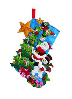 Bucilla 18Inch Christmas Stocking Felt Applique Kit 86278 The Finishing Touch ** Click on the image for additional details. (This is an affiliate link)
