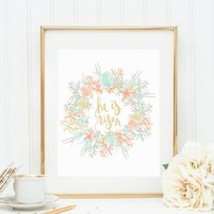 Easter Print, His is Risen, Easter Wall Art, Nautical Easter Art, Beach Easter Print, Beach House Decor, Beachy Easter, He is Risen Print on Etsy