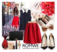"""""""Red Skirt Romwe"""" by diva1 ❤ liked on Polyvore featuring Rebecca Minkoff, Jimmy Choo, RED Valentino, Christian Lacroix, Rimmel, Christian Dior and ZALORA"""