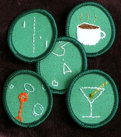 "Our pal Moxie made these funny ""scout"" badges with scenes from classic video games and various grown-up beverages. Spotted in the CRAFT Flickr pool."