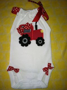 Baby Girls Big Red Tractor Romper. So cute for by DaintyBoTeek, $24.00