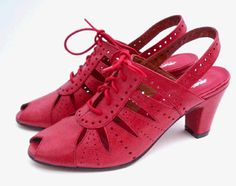 """The """"BLOOMSBURY"""" is a 1930's mid-heel peep toe perforated slingback oxford with ribbon lacing. *wistful sigh*"""