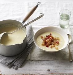 Celeriac is a great winter vegetable and it's put to wonderful use in this creamy soup. Serve with crispy pancetta and croûtons for a touch of luxury.