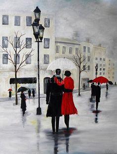"""Oil Painting Fine Art """"Lovers in the Rain"""" Custom Painting,Urban Art, Modern Art, City Scene, on Etsy, $525.00"""