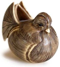 Antique Ivory Netsuke of Water-Bird by Shozan