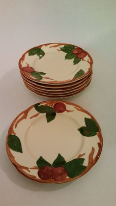 Vintage Franciscan  Apple  Pattern Salad Plates Made in USA 1960u0027s 9 Available Selling & Vintage Woods Ivory Ware u0027Barodau0027 Pattern Bread and Butter Plate ...