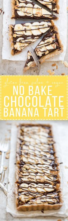 This No-Bake Chocolate Banana Tart has an easy date crust, filled with creamy chocolate ganache and sliced bananas! This quick and simple recipe is only has five ingredients and it's gluten-free, Paleo and vegan.
