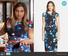 Mindy's black and blue floral cap sleeve dress on The Mindy Project.  Outfit Details: https://wornontv.net/67003/ #TheMindyProject