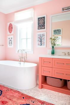 pink bathroom Gorgeous pink and orange girls bathroom boasts an orange and pink vintage runner placed on marble floor tiles in front of an orange washstand accented with satin nickel pulls and a white quartz countertop. Bad Inspiration, Bathroom Inspiration, Color Palette For Home, Farmhouse Design, Country Farmhouse, Modern Farmhouse, Deco Design, Pink Design, Bathroom Interior Design